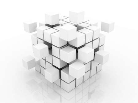 order: Abstract 3d illustration of cube assembling from blocks Stock Photo
