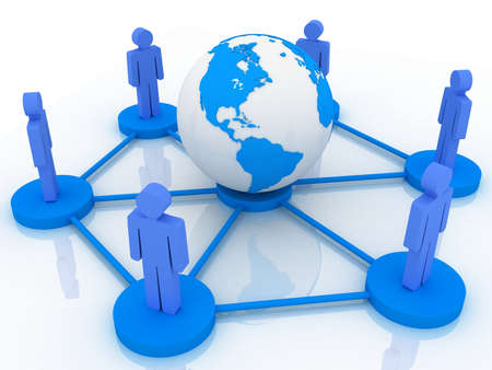 Social network concept on world globe, 3D images Stock Photo - 14252766