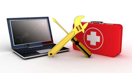 computer problem: Laptop with tools and a first aid kit on a white background, 3D images Stock Photo