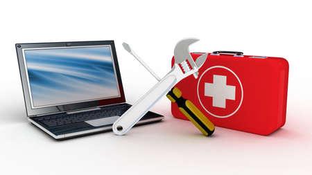 Laptop met gereedschap en een EHBO-kit op een witte achtergrond, 3D-beelden