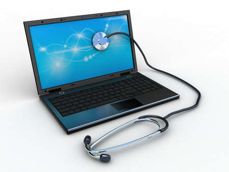 Stethoscope on black laptop, computer , 3D images