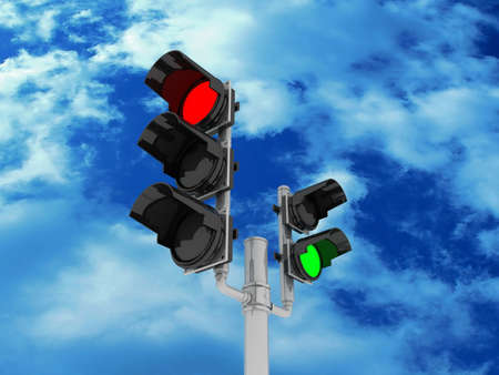 Traffic light isolated on sky background, 3D images Stock Photo - 14252763