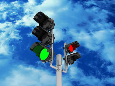 Traffic light isolated on sky background, 3D images Stock Photo - 14252764