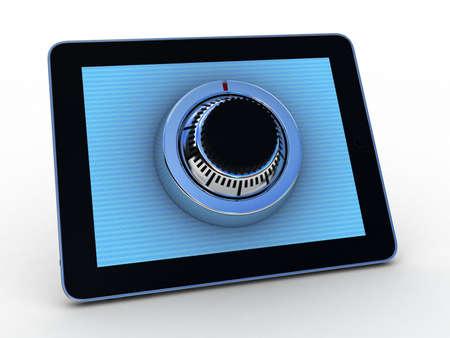 Safe tablet on white background, 3D images photo