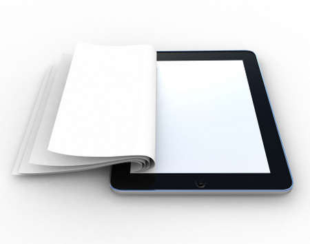 narrative: Business paper on tablet. Mobile device concepts 3D. isolated on white