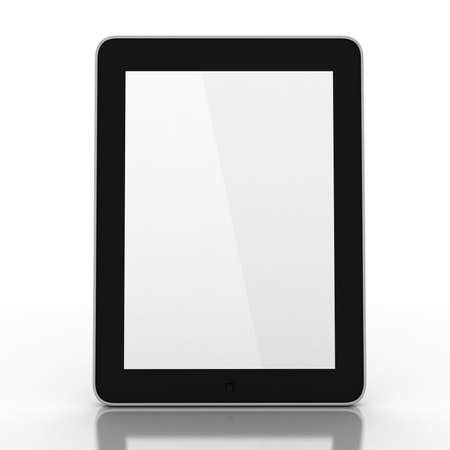 3D black tablet pc on white background photo