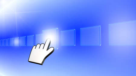 Hand pushing a button on a touch screen interface Stock Photo - 14967629