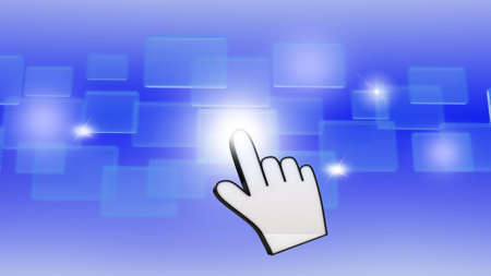 Hand pushing a button on a touch screen interface Stock Photo - 14967651