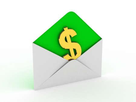 Money in envelope isolated on white background Stock Photo - 14967623