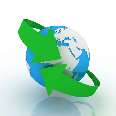 Globe and arrow on white background, 3D images photo