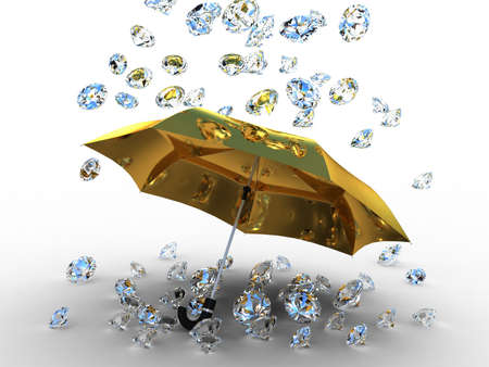 Diamond under the umbrella golden of, 3D images photo