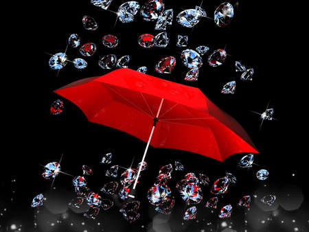 Diamond under the umbrella red on black background, 3D images photo