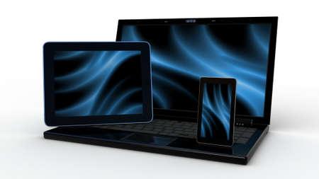 Laptop, mobiele telefoon en tablet pc.Electronics. 3d