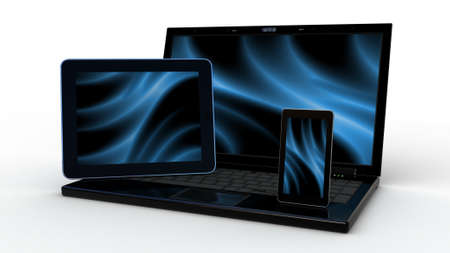Laptop, mobile phone and tablet pc.Electronics. 3d Imagens