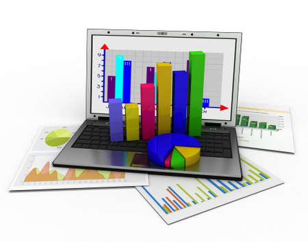 Laptop showing a spreadsheet and a paper with statistic charts, surrounded by some 3d charts Standard-Bild