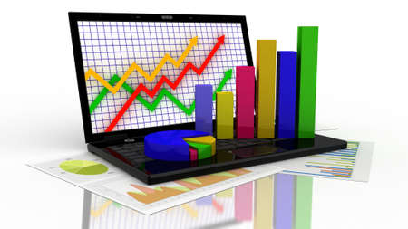 Laptop showing a spreadsheet and a paper with statistic charts, surrounded by some 3d charts Stock Photo