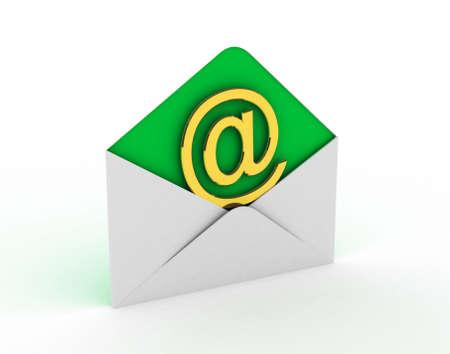 E-mail en internet messaging concept: na enveloppen en gouden e-mail symbool geïsoleerd op witte achtergrond Stockfoto
