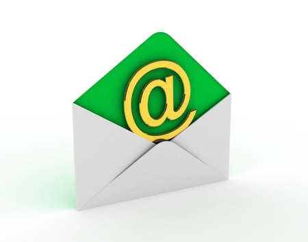 E-mail and internet messaging concept: post envelopes and golden email symbol isolated on white background