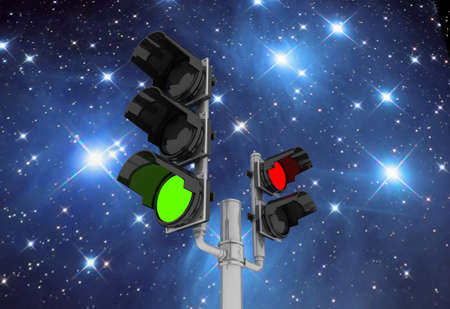 Traffic light isolated on sky night background, 3D images Stock Photo - 14967713