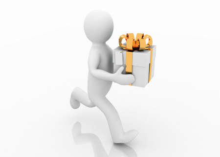 Man with gifts, 3D images photo