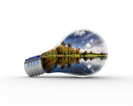 environmental science: Light bulb wind energy concept