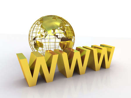 WWW and globe gold, 3D images photo