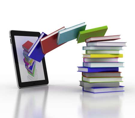 Boeken vliegen in uw tablet, 3D Stockfoto