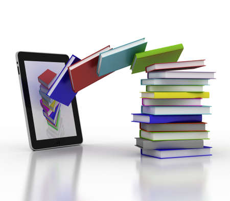 Books fly into your tablet, 3D Stock Photo - 16448963