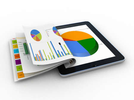 Tablet showing a spreadsheet and a paper with statistic charts, surrounded by some  charts