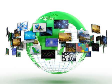 Media-technologieën concept: fotocollage van kubussen met foto's geïsoleerd op witte achtergrond