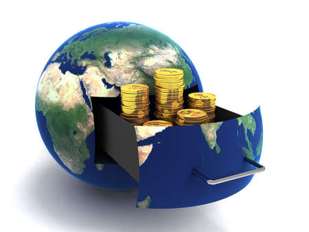 Globe van geld goud. Geïsoleerd op wit. 3D-beelden.