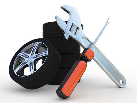 Wheels and Tools on white background. Isolated 3D image photo