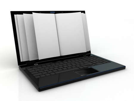 inovation: Business paper on laptop. Mobile device concepts 3D. isolated on white Stock Photo