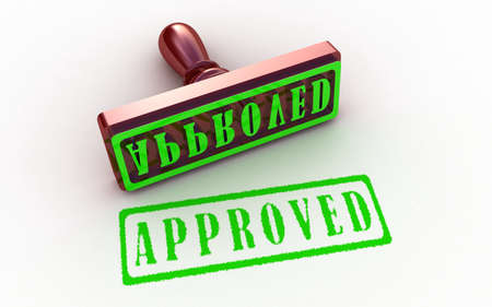 Approved stamp on white background, 3D images Stock Photo