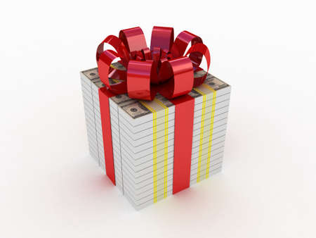 Gift with a red ribbon in the form of dollars photo