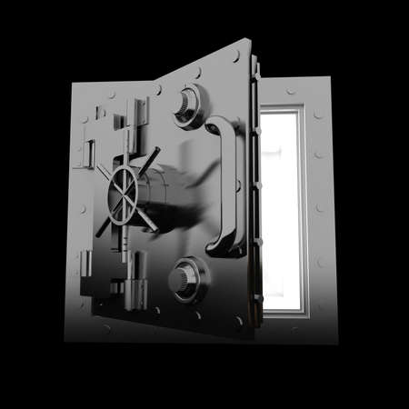 vaulted door: Safety deposit box on black background, 3D images Stock Photo