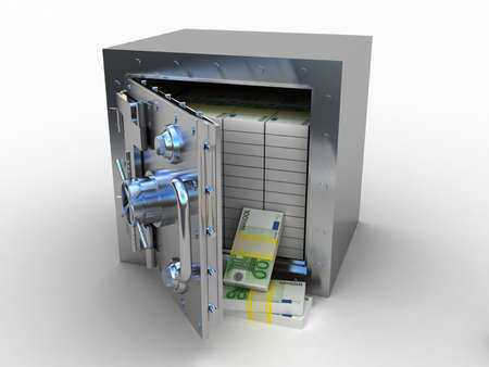 Safety deposit box and euro money on white background, 3D images