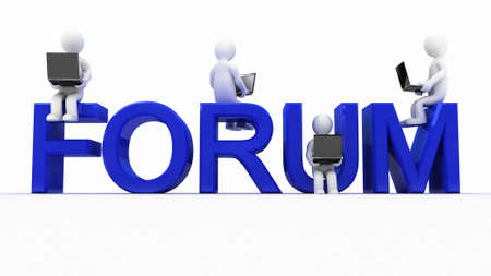 The inscription forum and men with laptops, 3D image Stock Photo