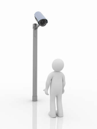 monitoring: Security camera and man on white background. Isolated 3D image