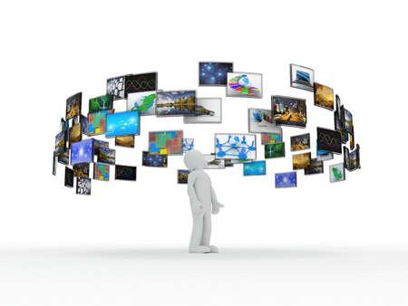 Een technologie man heeft beelden rond zijn hoofd. 3D beelden