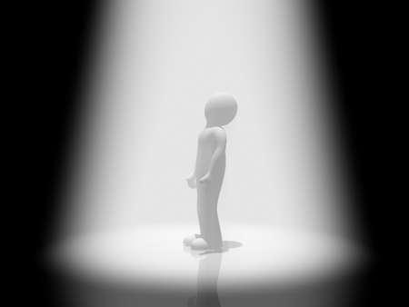 Man and volumetric light, 3D images Stock Photo - 16448934