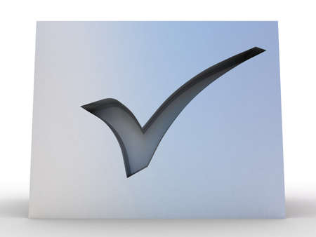 3d illustration of check mark over white background illustration