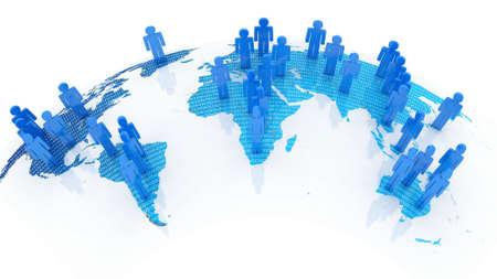 Sociaal netwerk concept op wereldbol, 3D-beelden Stockfoto