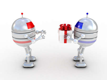 Robots with gifts, 3D images photo