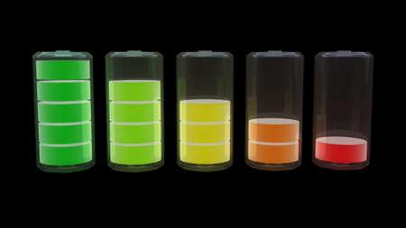 levels: batterijniveau, 3D-beelden Stockfoto