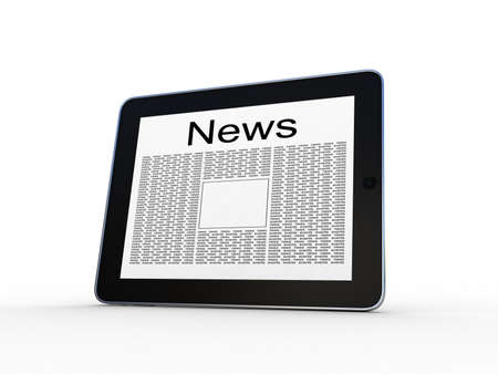 inovation: Business newspaper on tablet  Mobile device concepts 3D  isolated on white