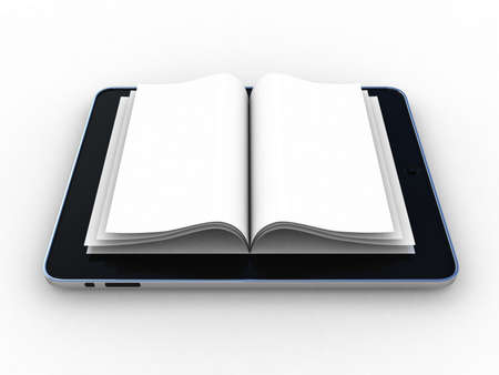 inovation: Business paper on tablet  Mobile device concepts 3D  isolated on white
