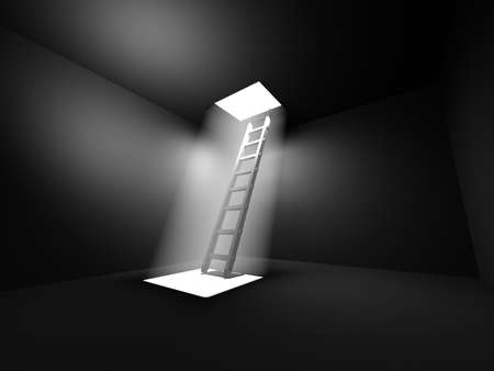 Black shiny ladder in the middle of a dark room leads out to the light photo