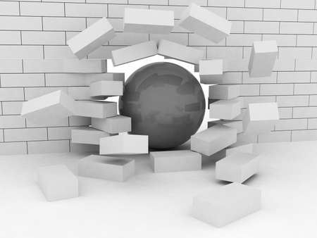 Abstract Illustration of Brick Wall Broken by Wrecking Ball Stock Illustration - 16845336