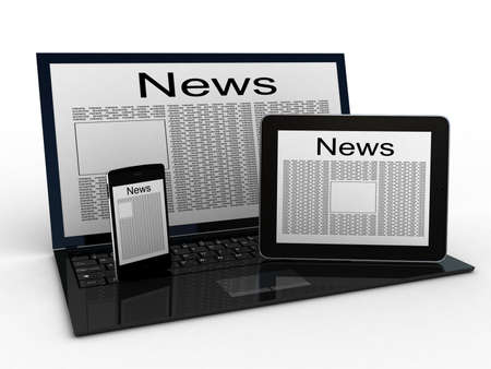 Business newspaper on tablet, laptop and smartphone. Mobile device concepts 3D. isolated on white photo